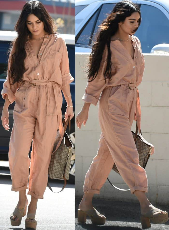 Vanessa Hudgens wearing a Free People one piece and Prada plaform mule sandals