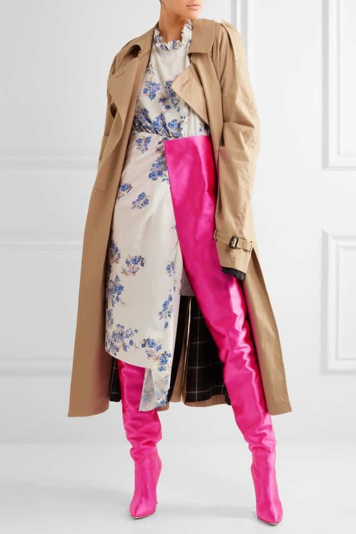 Model wearing Vetements x Manolo Blahnik Waist-High Boots in Bright Pink Satin
