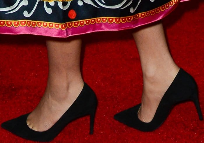 Zendaya wearing black pointy-toe pumps at Dolce & Gabbana's 'New Vision' party