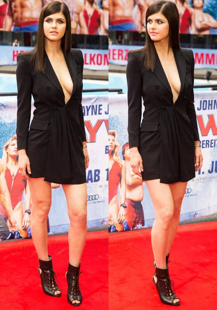 Alexandra takes cleavage to a whole new level in a DSquared2 dress