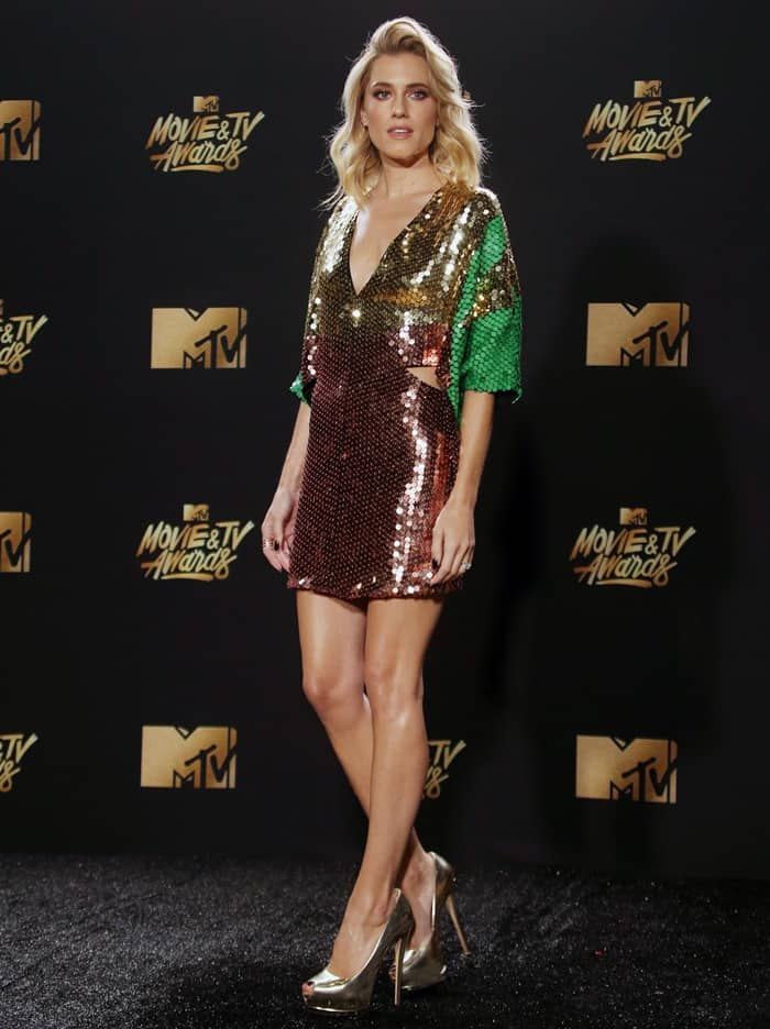 Allison Williams in Galia Lahav at the 2017 MTV Movie & TV Awards held at the Shrine Auditorium in Los Angeles on May 7, 2017