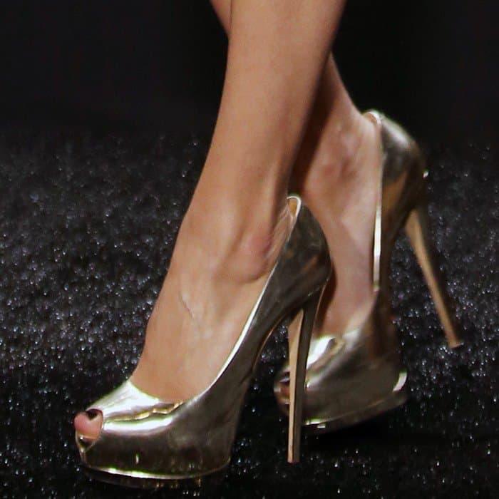 Allison wearing peep-toe Giuseppe Zanotti 'Sharon' pumps