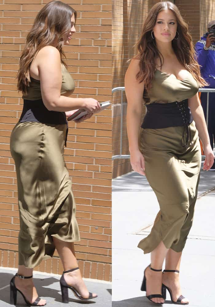 Ashley greets her fans in a green slip dress by Nili Lotan