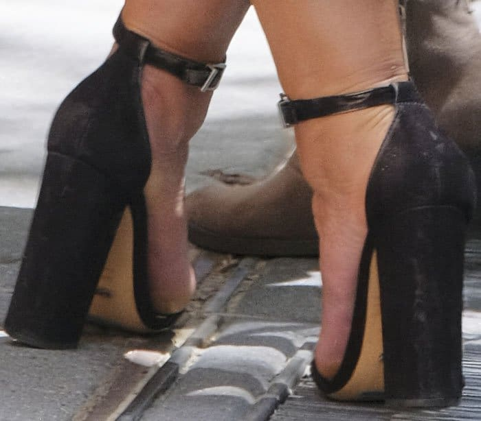 """Ashley plays it safe with a classic pair of Schutz """"Enida"""" sandals"""