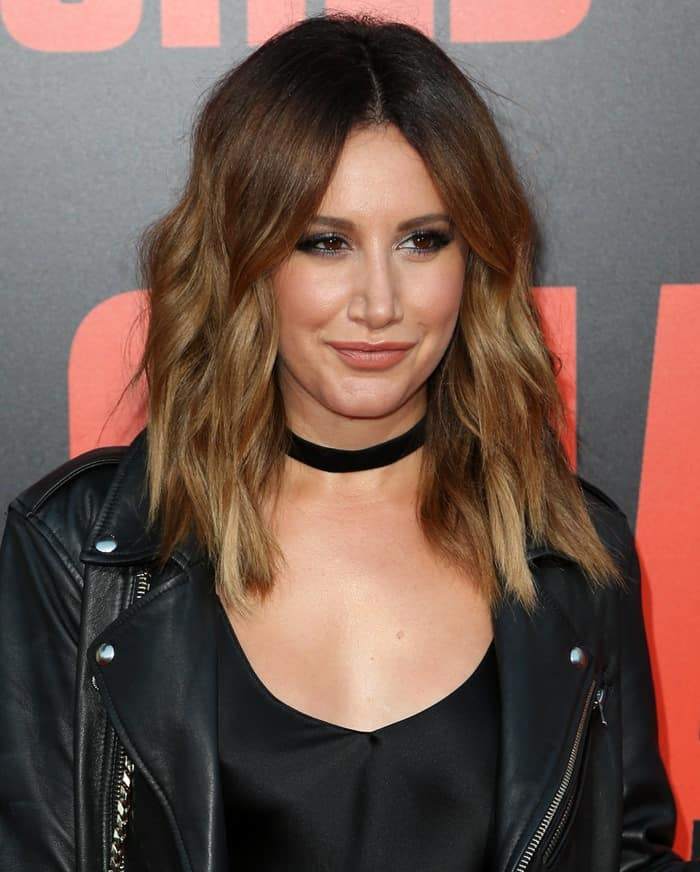 Ashley Tisdale in a black slip dress at the premiere of 'Snatched' at the Regency Village Theatre in Westwood, California, on May 10, 2017