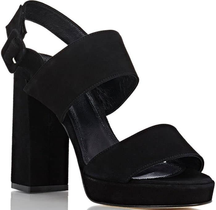 Barneys New York Double Strap Suede Platform Sandals