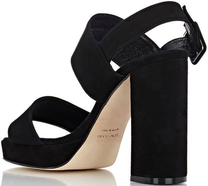 Barneys New York Double Strap Suede Platform Sandals