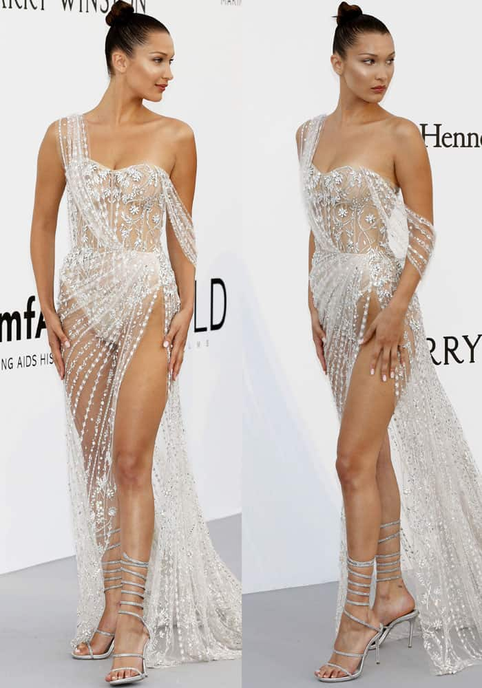 Bella barely wears anything in a sheer Ralph & Russo gown