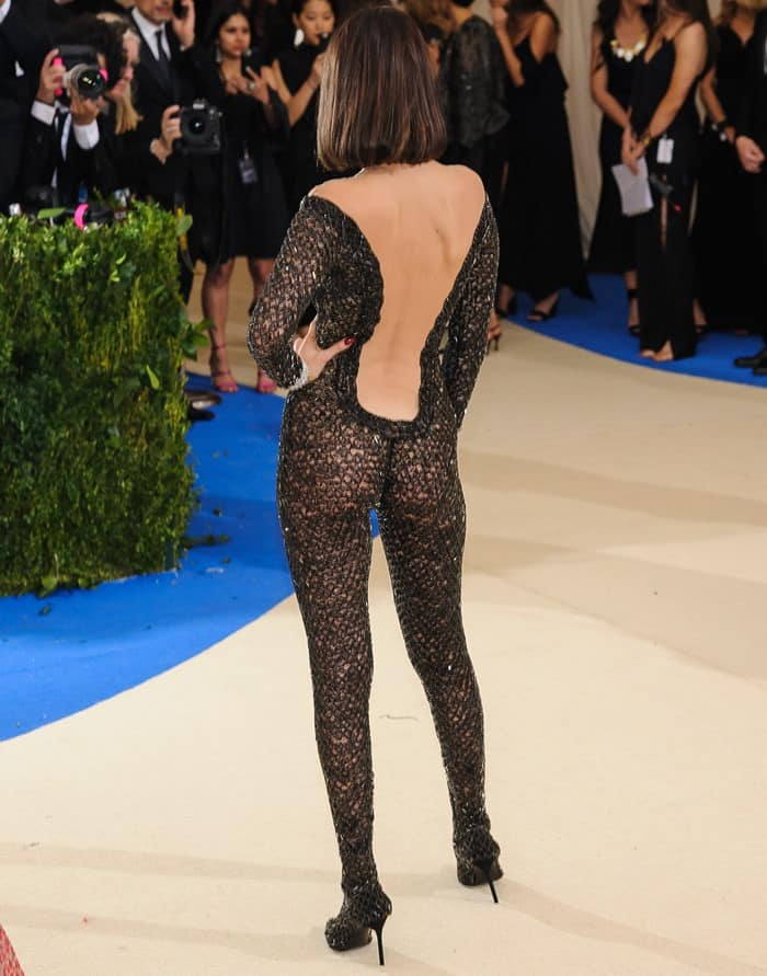 Bella Hadid ditches her underwear in a sexy sheer catsuit from Alexander Wang at the 2017 Met Gala in New York City on May 1, 2017