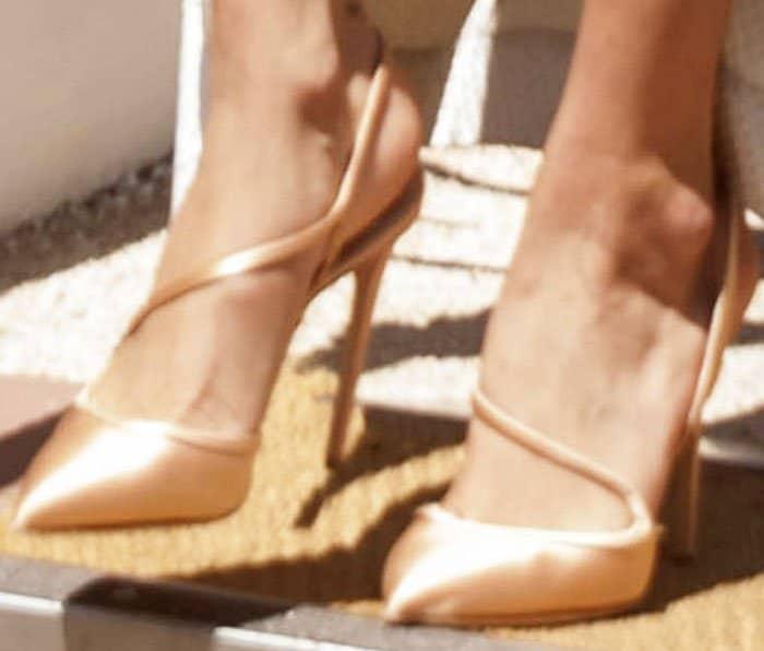 """Bella Hadid's satin Olgana Paris """"La Troublante"""" pumps"""