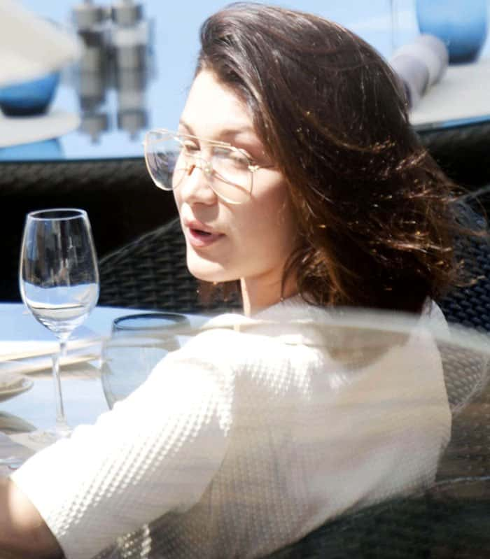 Bella is picture perfect as she enjoyed an al fresco lunch in Cannes