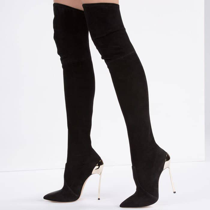 Casadei 120MM 'Techno Blade' Stretch Suede Boots