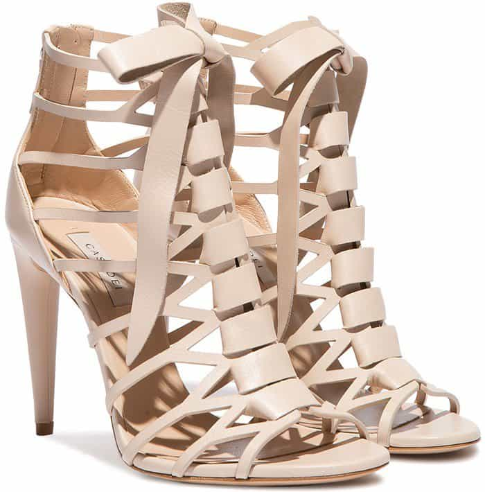 Casadei cut-out cage evening sandals in ecru