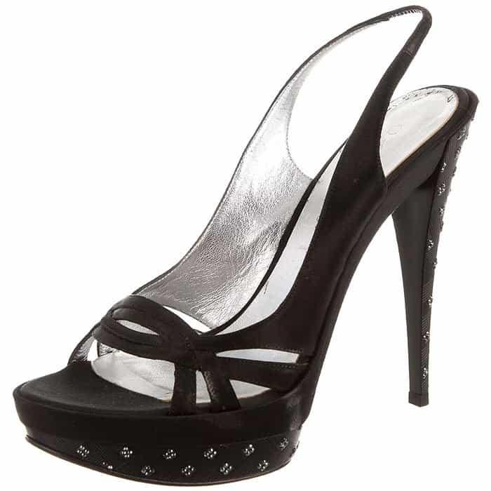 Casadei Swarovski-Accented Black Satin Slingback Platform Sandals