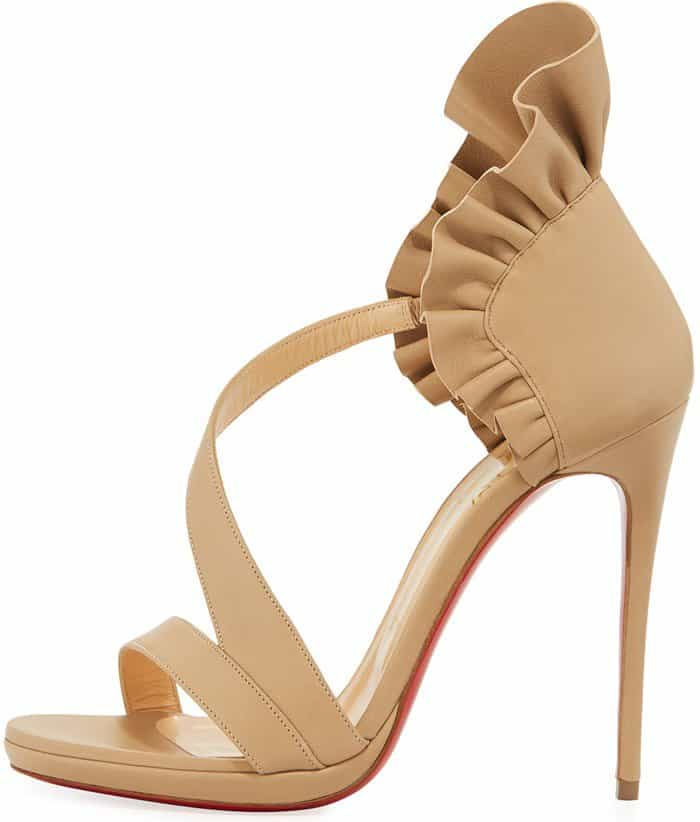 Christian Louboutin 'Colankle' Ruffle Red Sole Sandals in Nude Napa Leather