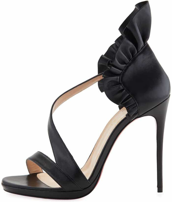 Christian Louboutin 'Colankle' Ruffle Red Sole Sandals in Shiny Black Napa Leather
