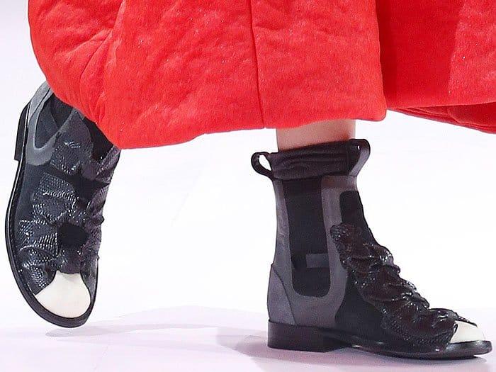 The Comme des Garçons triple-bow boots as sent down the Comme des Garçons fall 2017 runway.