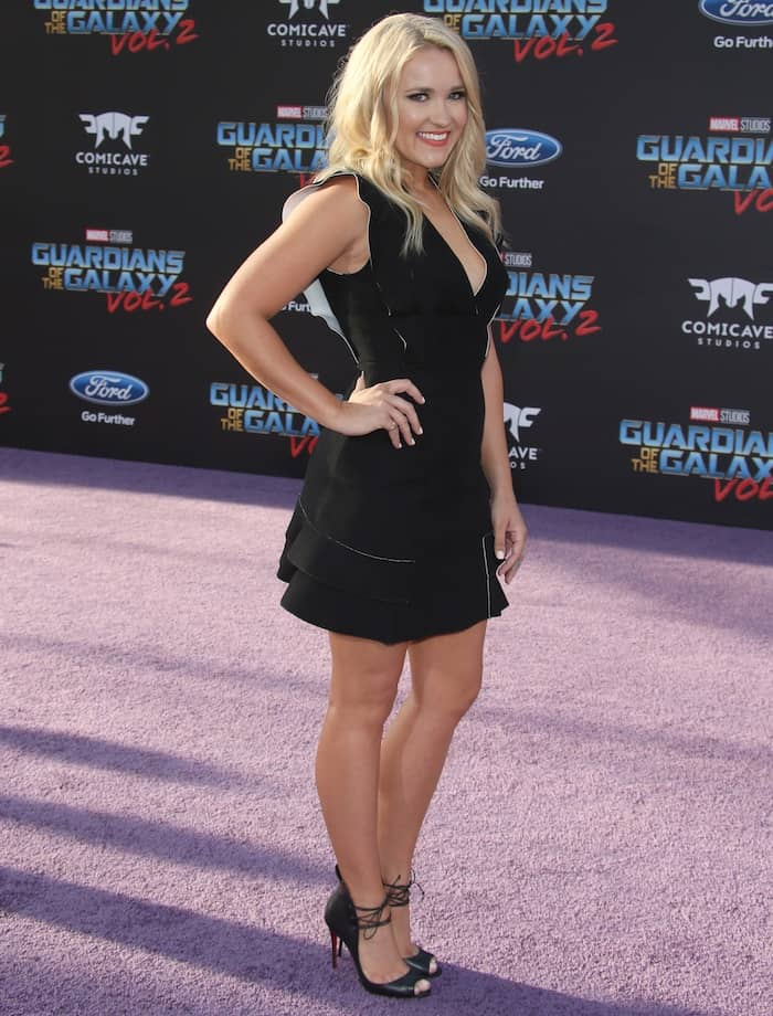Emily Osment in a black mini dress for the world premiere of Guardians of the Galaxy Vol. 2 at the Dolby Theatre in Los Angeles on April 19, 2017