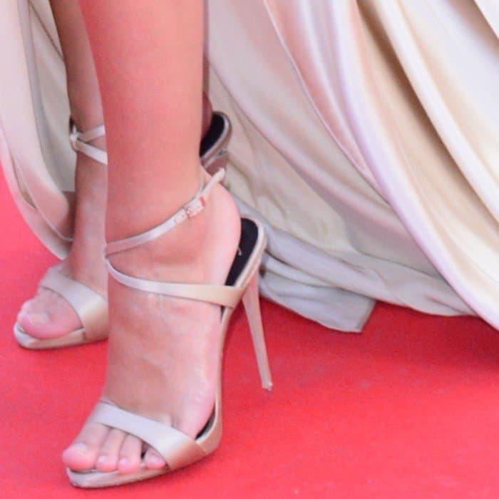 Emily Ratajkowski wearing Giuseppe Zanotti heels with crystal heel embellishment