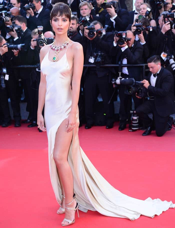 Emily Ratajkowski flaunts her sexy legs at the Opening Gala screening of 'Ismael's Ghosts (Les Fantomes d'Ismael)' at the 70th annual Cannes Film Festival at Palais des Festivals in Cannes, France, on May 17, 2017