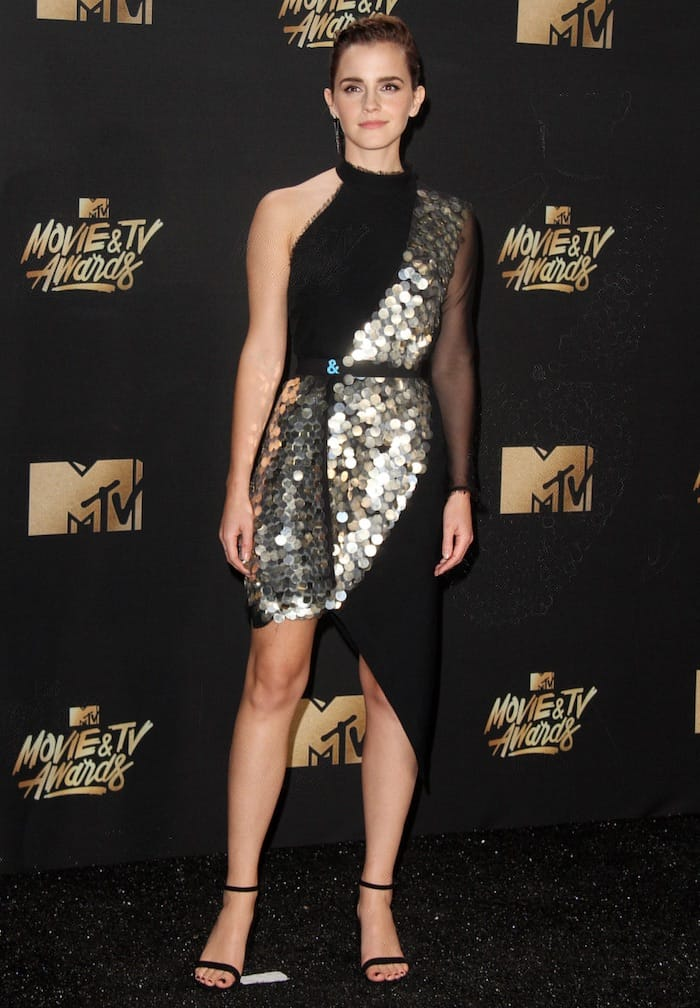 Emma Watson dons a Kitx dress for the MTV Movie & TV Awards at the Shrine Auditorium in Los Angeles on May 7, 2017