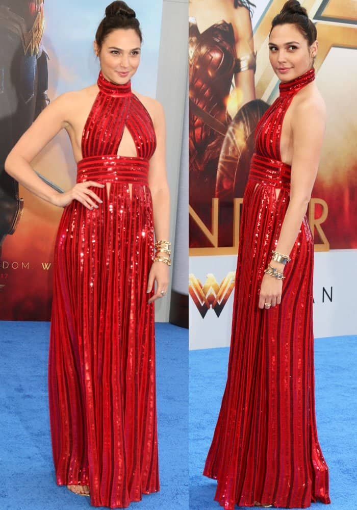 """The """"Wonder Woman"""" gown: Gal pays homage to her character in a sequined Givenchy dress"""