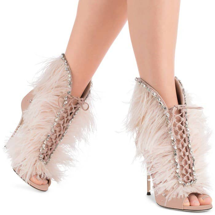 Pink Suede Giuseppe Zanotti 'Charleston' Boots With Feathers