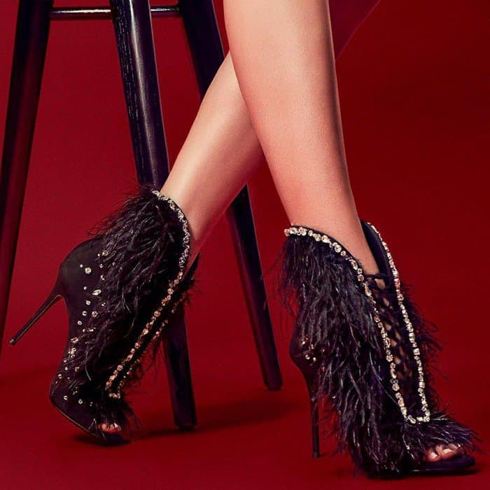 Black Suede Giuseppe Zanotti 'Charleston' Boots With Feathers