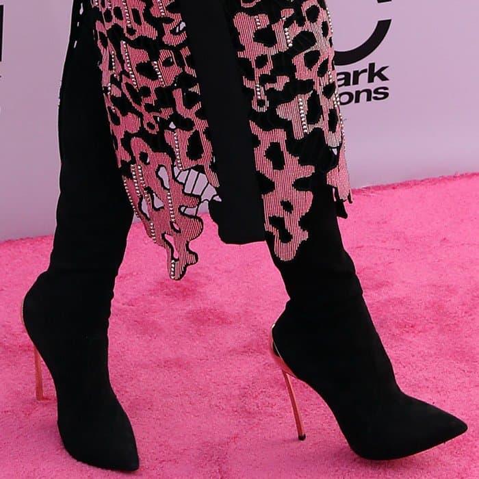 Hailee Steinfeld wearing thigh-high Casadei's 'Techno Blade' stiletto boots