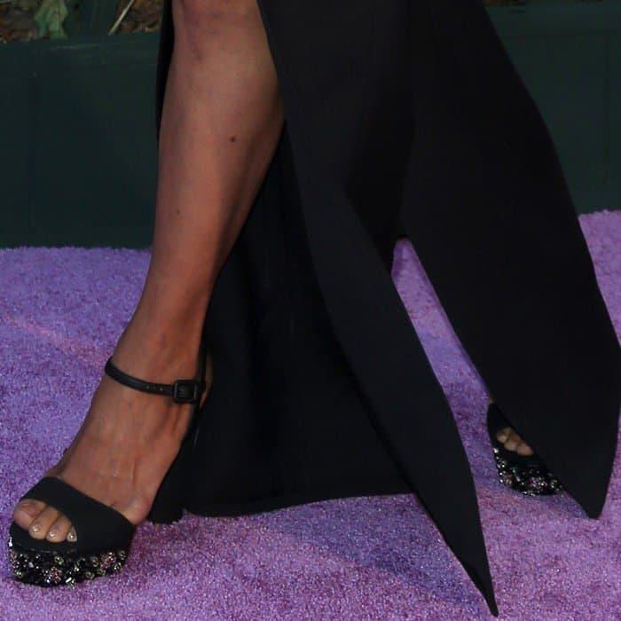 Halle Berry in black embellished open-toe heels