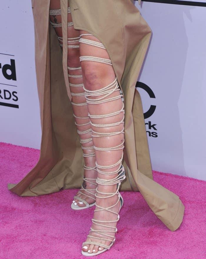Halsey wearing Monika Chiang Kora gladiator sandals