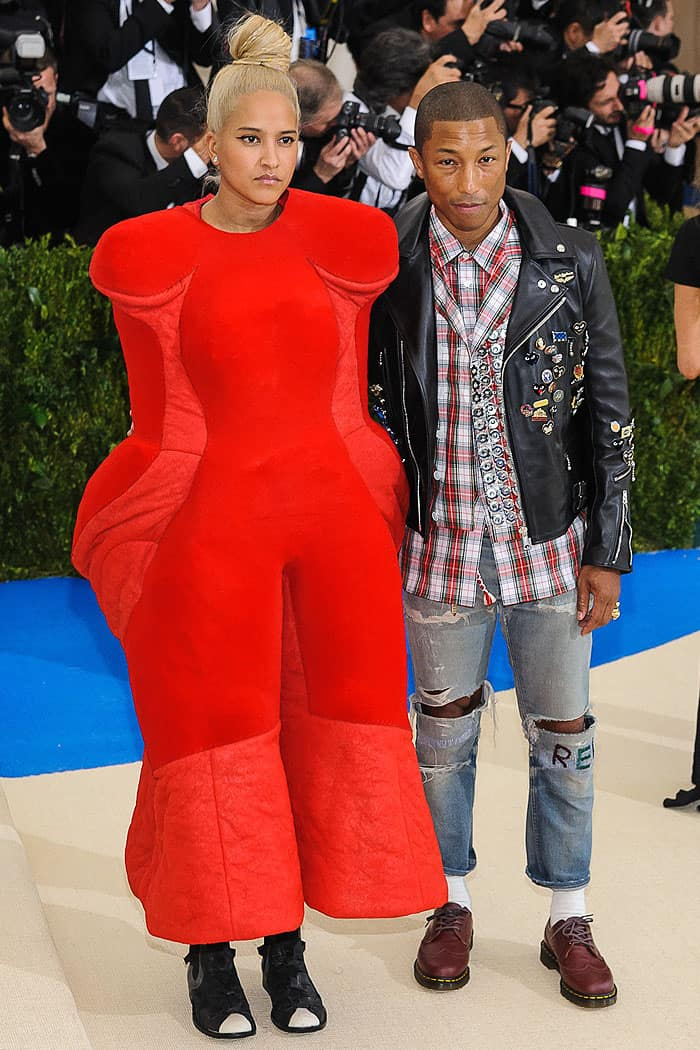 Helen Lasichanh and Pharrell Williams arriving at the 2017 Metropolitan Costume Institute Benefit Gala held at the Metropolitan Museum of Art in New York City on May 1, 2017.
