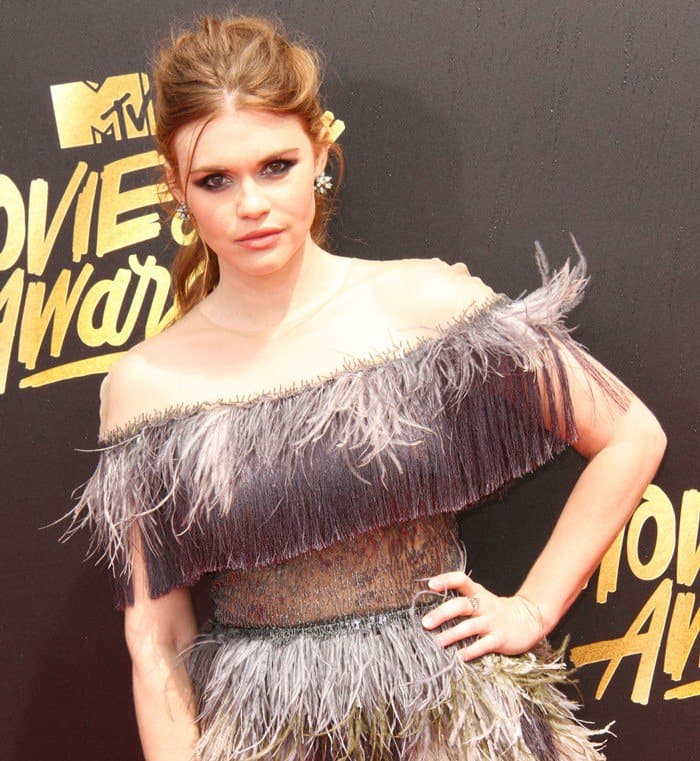 Holland Roden in Tadashi Shoji at the 2017 MTV Movie & TV Awards held at the Shrine Auditorium in Los Angeles on May 7, 2017