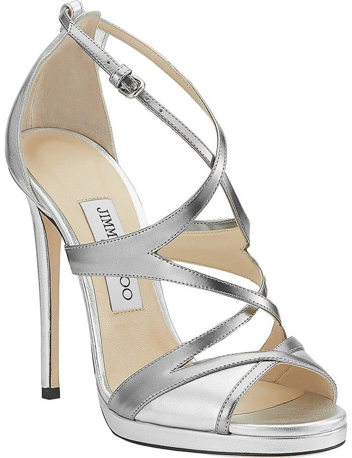 JIMMY CHOO Marianne 120 metallic-leather heeled sandals