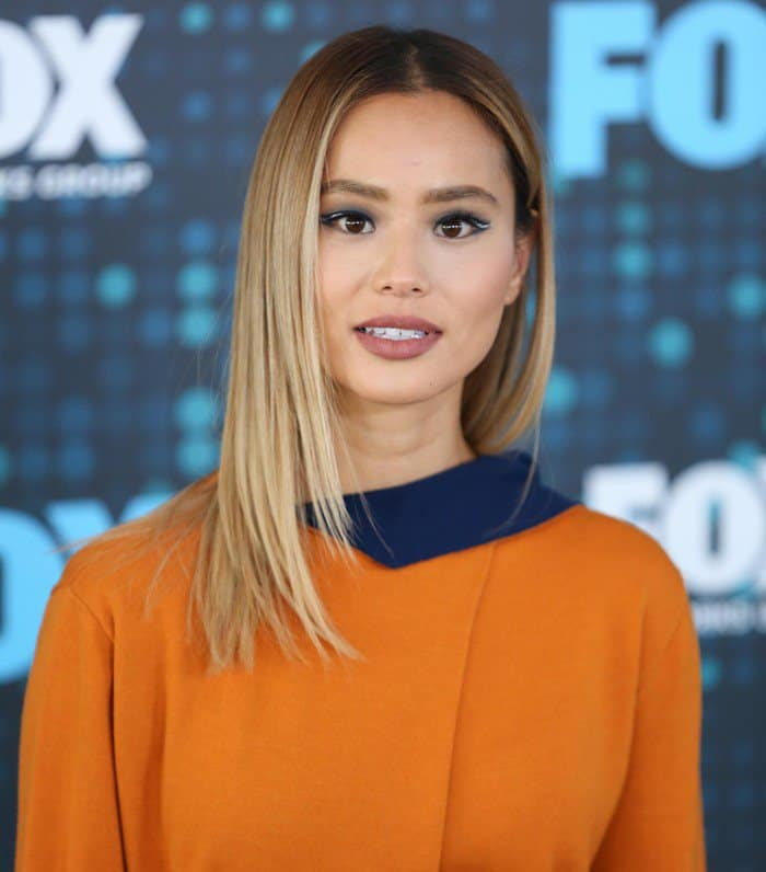 Jamie Chung in Victoria Victoria Beckham ensemble at the 2017 Fox Upfronts at Wollman Rink in Central Park in New York City on May 15, 2017