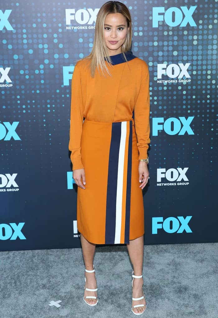 Jamie Chung in Victoria Victoria Beckham ensemble and Tamara Mellon 'Frontline' sandals at the 2017 Fox Upfronts at Wollman Rink in Central Park in New York City on May 15, 2017