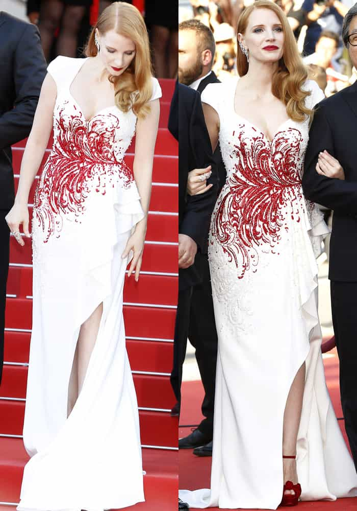 Jessica grabs attention in a Zuhair Murad couture gown