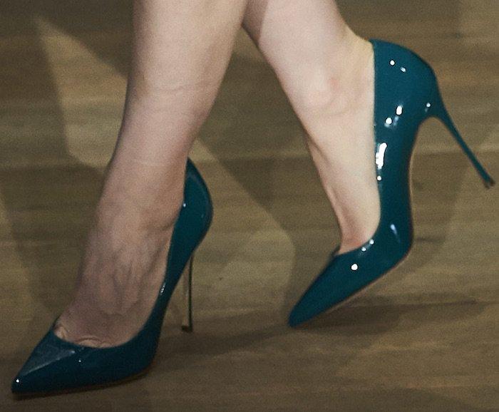 Jessica paired her custom dress with Sergio Rossi Godiva pumps