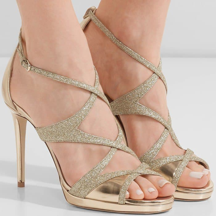 Jimmy Choo 'Marianne' Tea Rose Mirror Leather and Fine Glitter Sandals