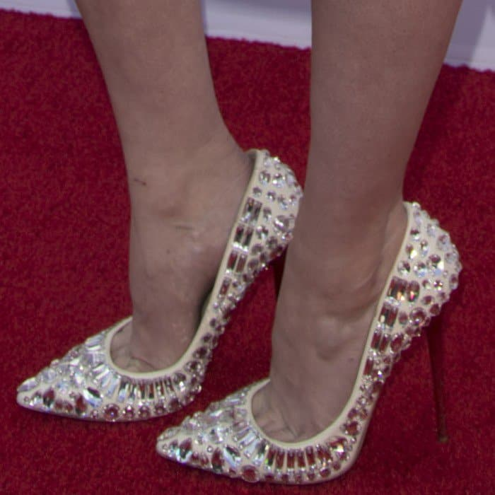 Mary wearing Jimmy Choo 'Tia' pointy-toe jewel pumps