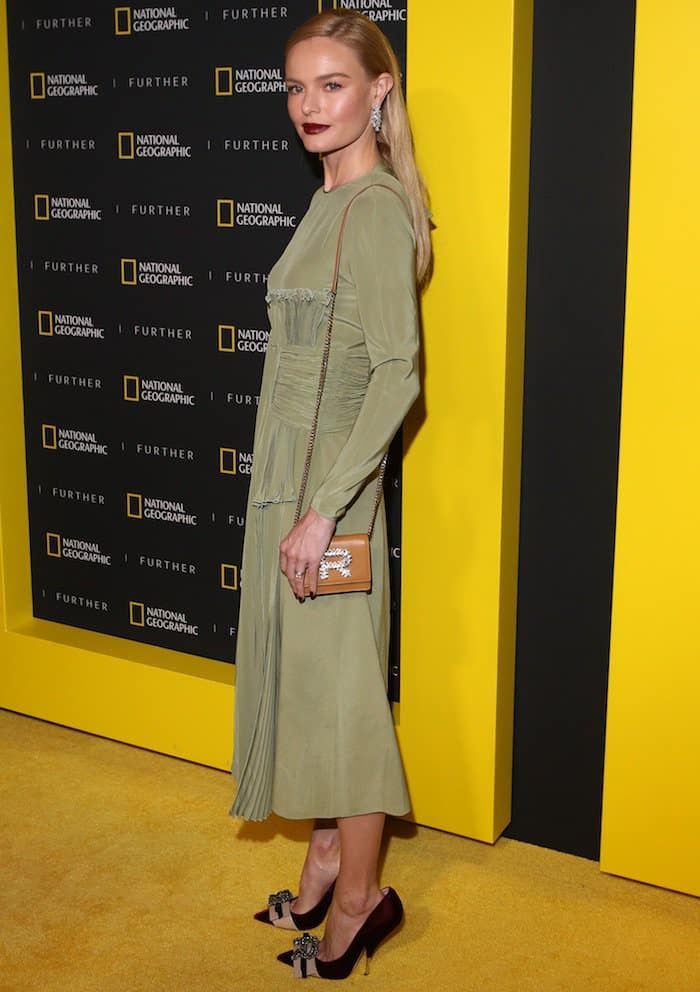 Kate Bosworth attends the National Geographic Further Front event in a green Rochas drape dress on April 19, 2017 at the Jazz Lincoln Center's Frederick P. Rose Hall in New York City
