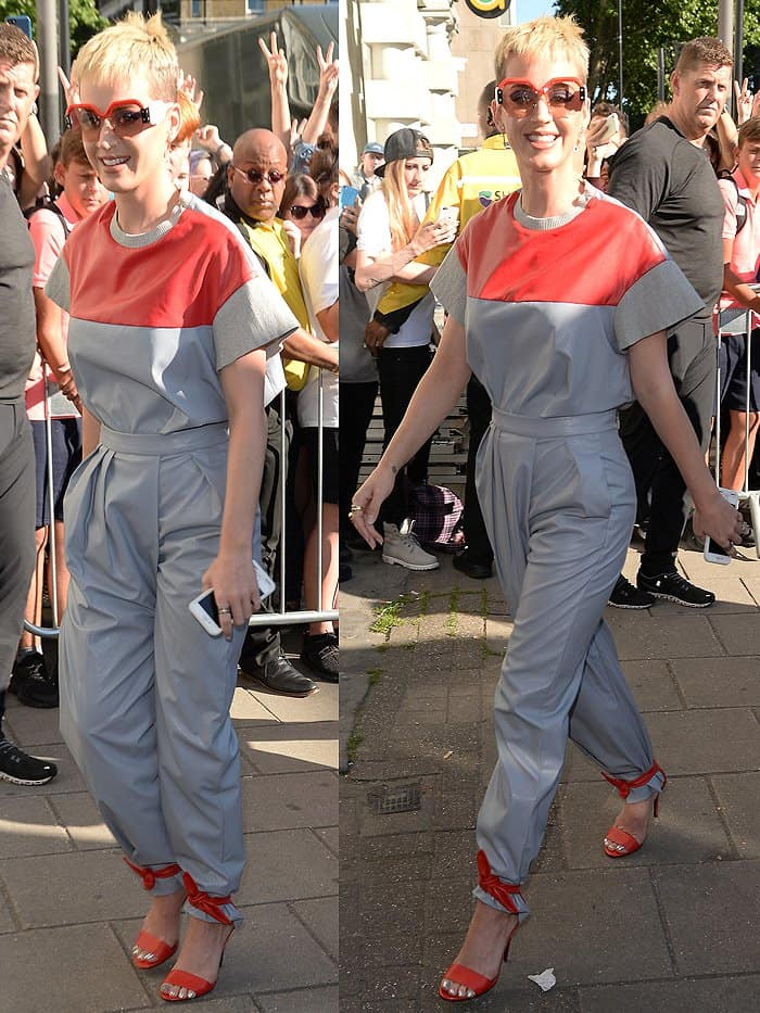 Katy Perry's red leather sandals with the ankle ties knotted over the hem of her pants