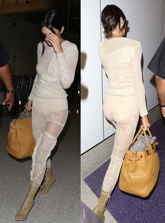 Kendall Jenner goes braless and reveals her nipples as she arrives at Los Angeles Airport (LAX) in a crochet outfit on May 18, 2017