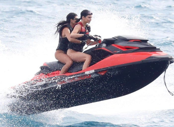 Kendall is later joined by her sister, Kourtney, for a jetski run