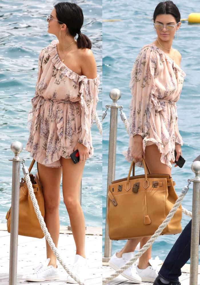 Kendall paraded around the dock in her floral Zimmermann romper