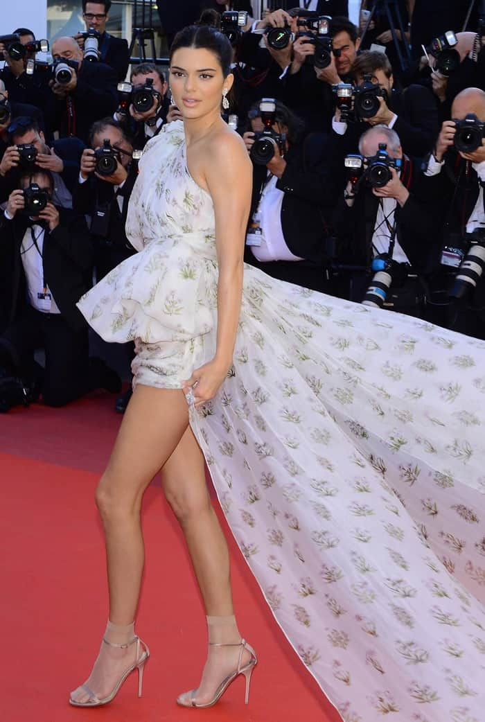 Kendall Jenner wearing Giambattista Valli Couture on the red carpet at the '120 Beats Per Minute' premiere held during the 2017 Cannes Film Festival at Palais des Festivals in Cannes, France, on May 20, 2017