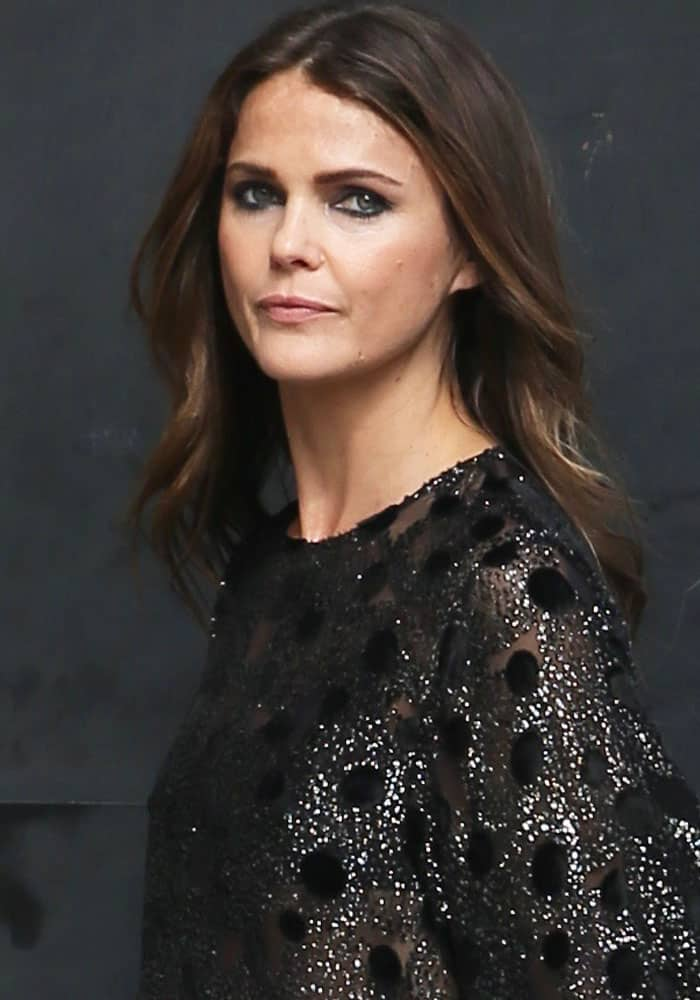 Keri Russell Guests \'Jimmy Kimmel Live!\' in Saint Laurent \'Anja\' Pumps