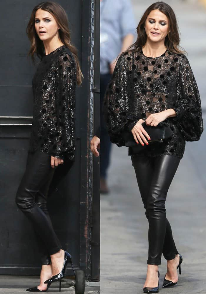 Keri looked sophisticated yet playful in a beautiful sheer polkadot top by Saint Laurent paired with leather pants