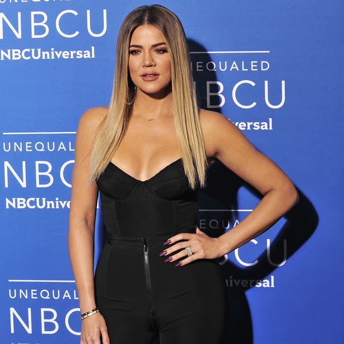Khloé Kardashian in a strapless bustier top
