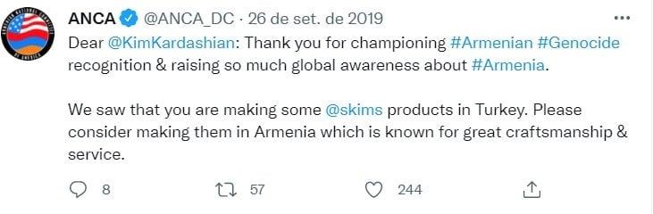 The Armenian National Committee of America asks Kim Kardashian to stop producing Skims shapewear in Turkey